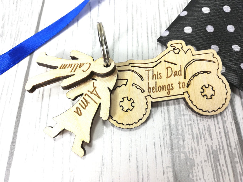 Personalised Wooden Quad bike with boy &girl figures Keyring This Dad belongs to..