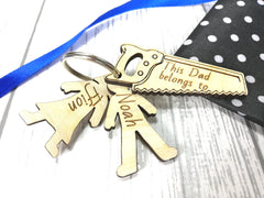 Personalised Wooden Saw with boy & girl figures Keyring This Dad belongs to.. Grandad