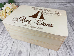 Personalised engraved Mrs & Mrs Wedding couple keepsakes Memory box 30cm Card box Any Surname