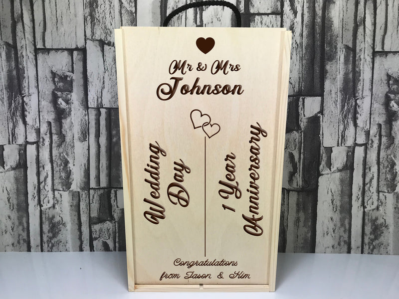 Personalised Engraved Mr & Mrs  Wedding 1st anniversary Double wine box  Any Surname Message