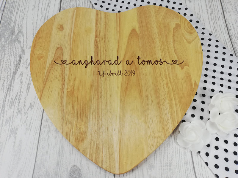 Personalised Engraved Wooden Heart Welsh Names Chopping board Wedding Gift Any Name Date Cymraeg