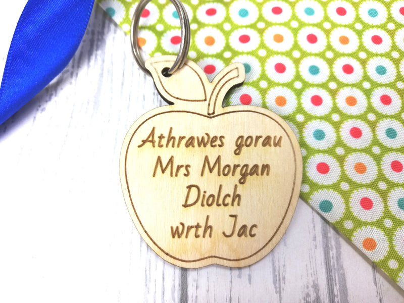 Personalised Wooden Apple Teacher Keyring Welsh Key ring Athro Athrawes Gorau Diolch