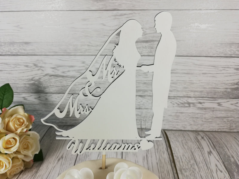Personalised wooden wedding Mr & Mrs Silhouette cake topper Any Surname