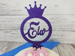 Personalised wooden birthday Princess Crown cake topper Any name