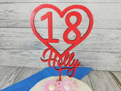 Personalised wooden birthday heart cake topper Any name Any Age 16 18 21 30 Glitter