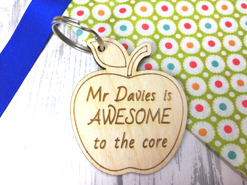 Personalised Wooden Apple Teacher Keyring Mr Mrs Miss is awesome to the core Key ring