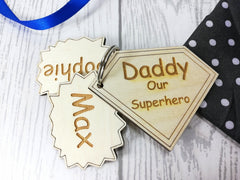 Personalised Wooden Superhero Keyring Daddy Dad Grandad. Name Kids Grandchildren Key ring