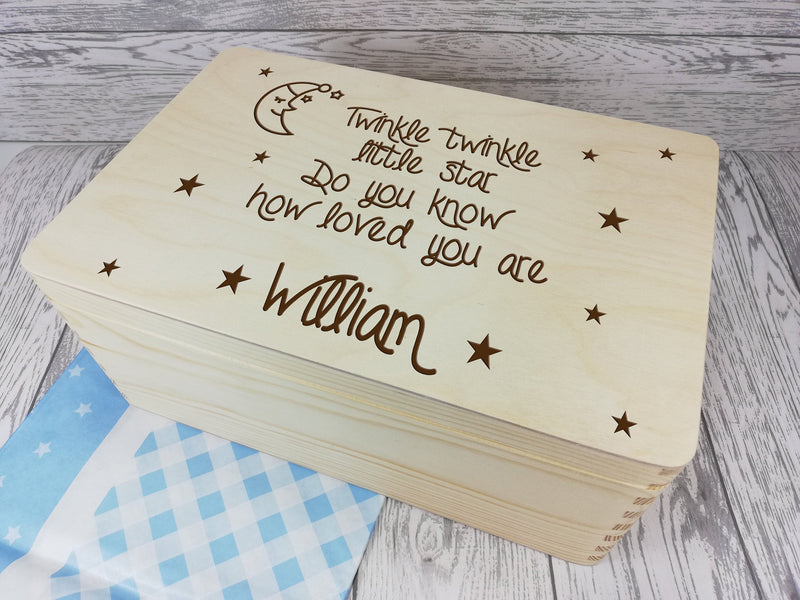Personalised Twinkle Little Star Baby keepsakes Memory box 30cm with handles Any Name