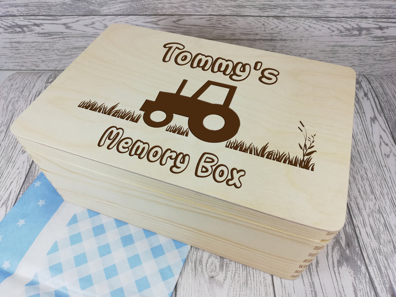 Personalised Tractor Farm Baby keepsakes Memory box 30cm with handles Any Name