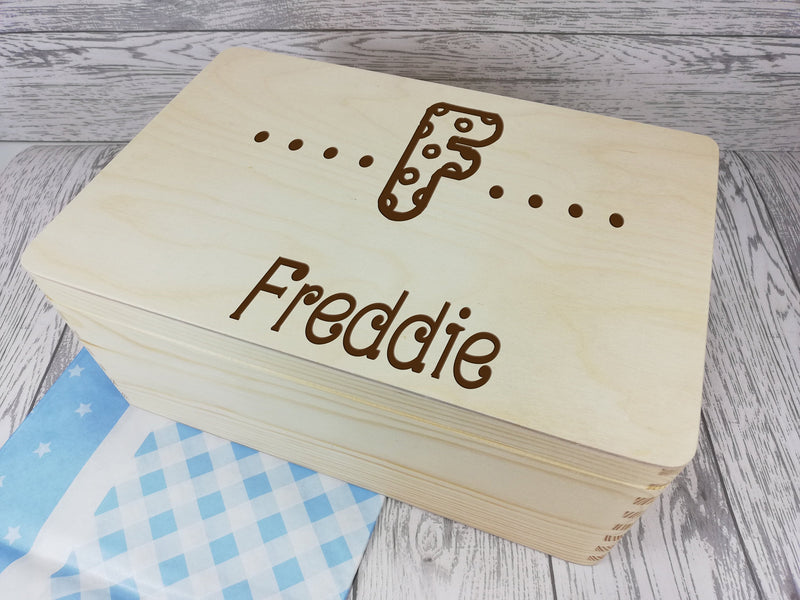 Personalised Letter Dots Memory Keepsake box 30cm with handles Any Name