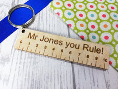 Personalised Wooden Ruler Teacher Keyring  Key ring Mr or Mrs you Rule! Any name or Message