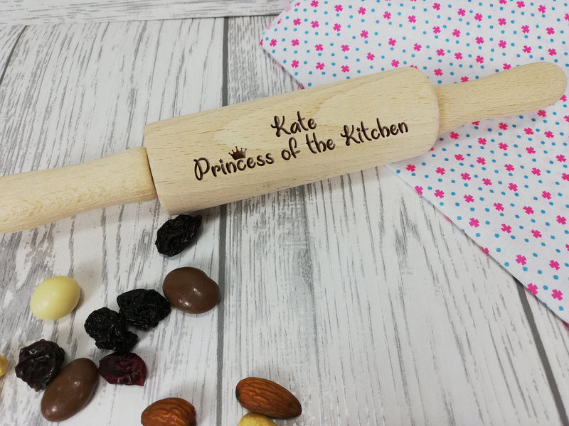 Personalised Engraved wooden Princess of the kitchen Kids Mini Rolling Pin Any name