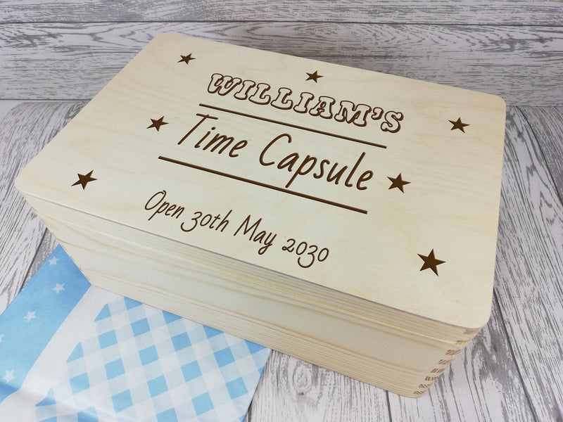 Personalised Time capsule Boy Baby keepsakes Memory box 30cm with handles Any Name