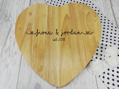 Personalised Engraved Wooden Heart Names Chopping board Wedding Gift Any Name Date