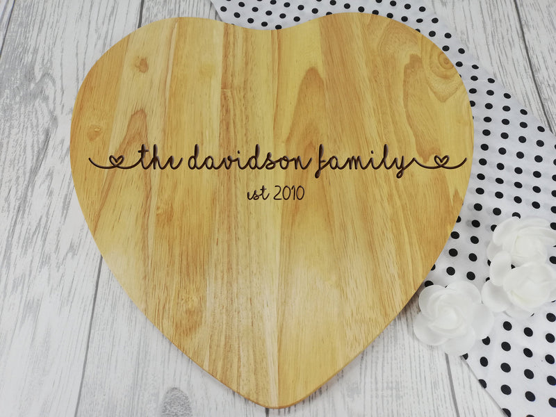 Personalised Engraved Wooden Heart Surname Family Chopping board Wedding Gift Any Name Date
