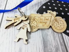 Personalised Wooden Motorbike with boy and girl figures Key ring This Dad belongs to..