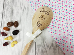 Personalised Engraved Welsh Diolch Thank you teacher Wooden Spoon Any name