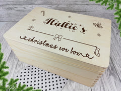 Personalised engraved Bow Christmas eve box keepsakes Memory box 30cm with handles Any Name