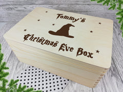 Personalised engraved Magic Wizard Hat Christmas eve box keepsakes box 30cm Any Name