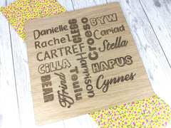 Personalised Engraved Oak veneer Large Hanging Sign Any Names Words Welsh English Gift Word art