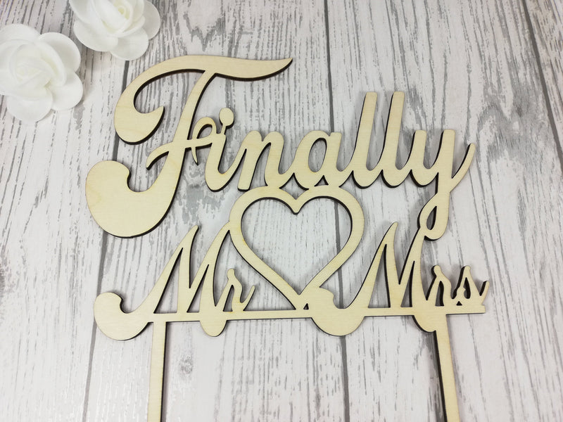 Personalised wooden Wedding cake topper Finally Mr Mrs Any Colour