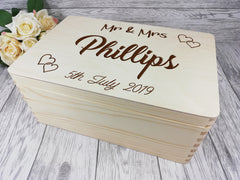 Personalised engraved Wedding Surname keepsakes Memory box 30cm with handles Card box Any Name