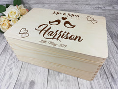 Personalised engraved Lovebirds Wedding keepsakes Memory box 30cm with handles Card box Any Surname