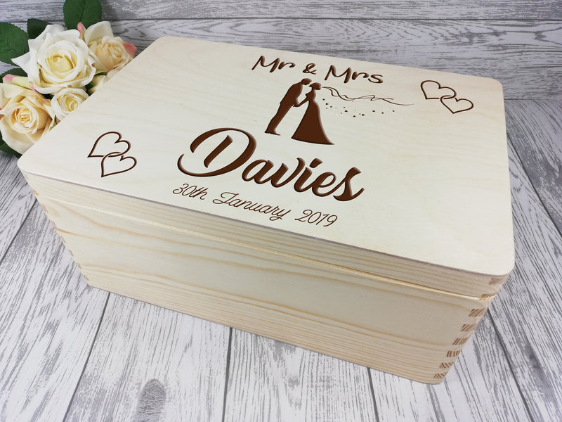 Personalised engraved Wedding couple keepsakes Memory box 30cm with handles Card box Any Surname