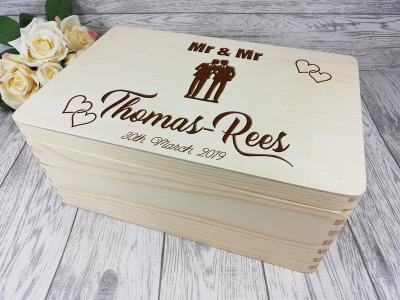 Personalised engraved Mr & Mr Wedding couple keepsakes Memory box 30cm Card box Any Surname
