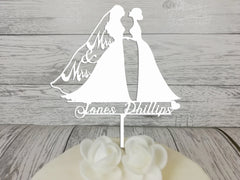 Personalised wooden wedding Mrs & Mrs Silhouette cake topper Any Surname