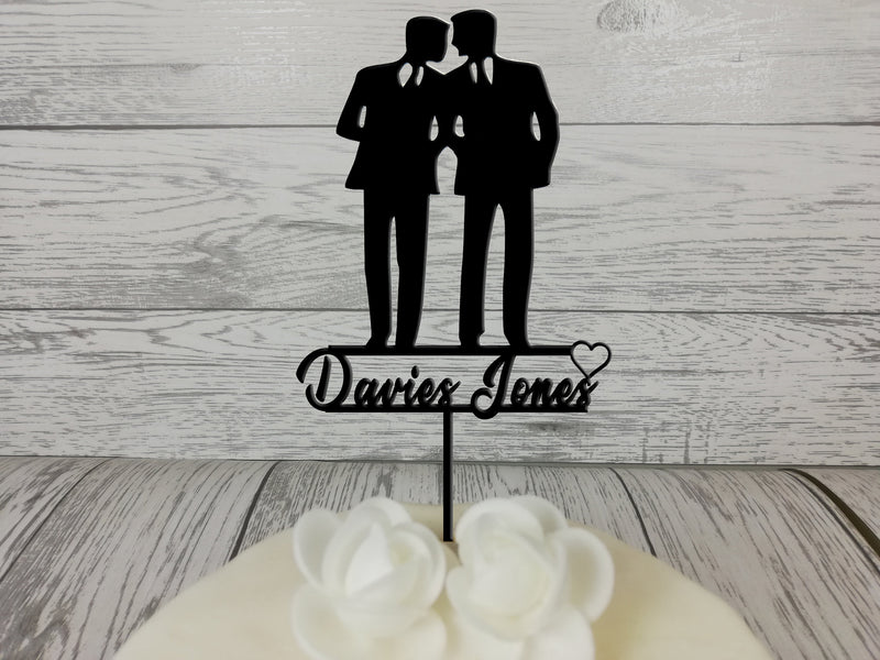Personalised wooden wedding Mr & Mr Silhouette cake topper Any Surname Black or wood