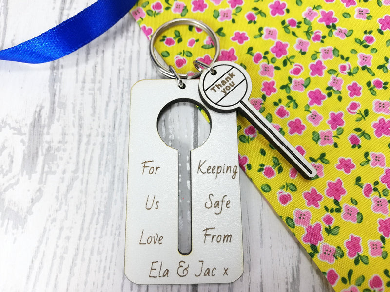 Personalised Engraved White Wooden Lollipop lady Thank you Keyring Key ring Any Name Gift