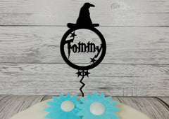 Personalised wooden glitter birthday Magic Wizard Witch Hat cake topper Any name