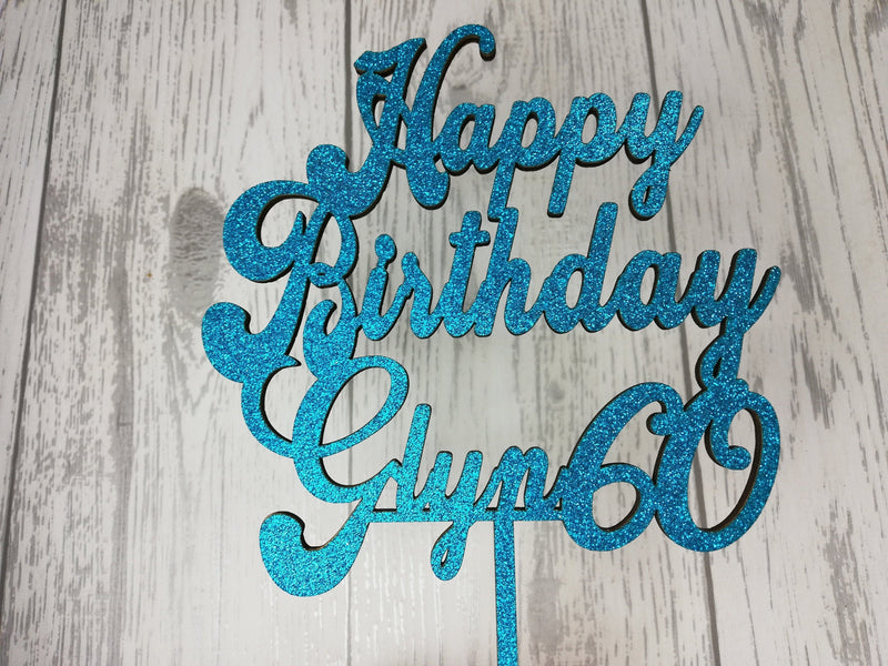 Personalised wooden happy birthday cake topper Any name glitter Any age 18 21 30 40 50 60