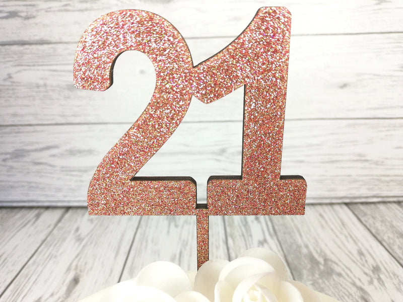 Personalised Wooden Glitter birthday age cake topper Any Age Colour options