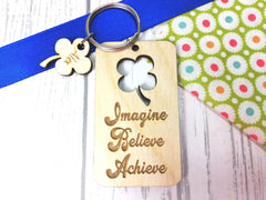 Personalised Wooden Lucky Four leaf clover cut out Keyring