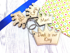 Personalised Wooden Crown King Princess Prince Keyring  Key ring Any name Message Dad Daddy
