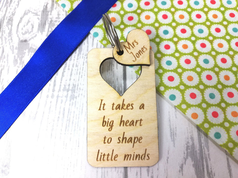 Personalised Wooden heart cut out Teacher Keyring  Key ring Any name Message