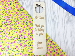 Personalised Wooden apple cut out Teacher Bookmark Any name Message