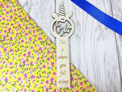 Personalised Wooden unicorn Bookmark Any Name Any Message