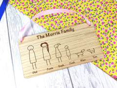 Personalised Engraved oak veneer hanging stick family sign Any Names Pets Choice of figures
