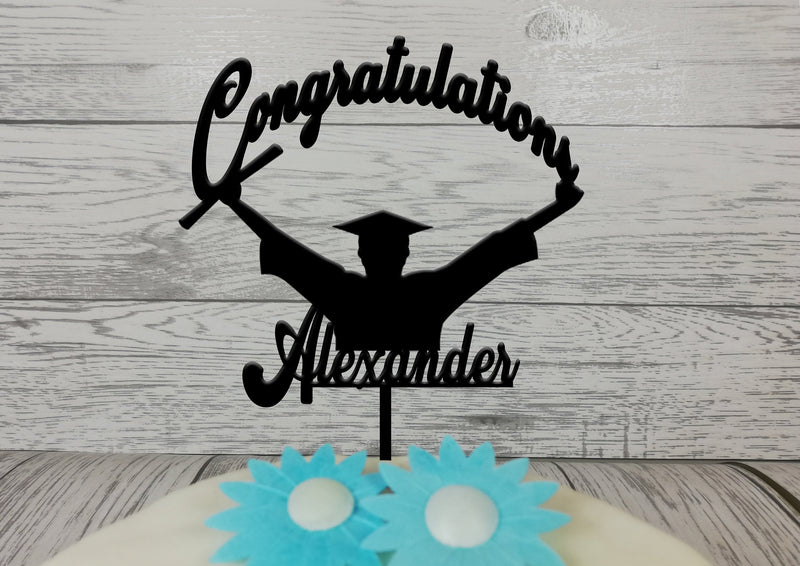 Personalised wooden Graduation Congratulations cake topper Any name