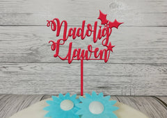Personalised Wooden Glitter Welsh Christmas Nadolig Llawen cake topper Any colour