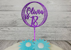Personalised Wooden Glitter Circle birthday cake topper Any name Age 16th 21st
