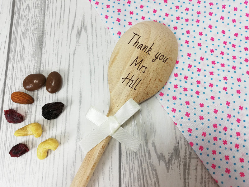 Personalised Engraved  Thank you teacher Wooden Spoon Any name