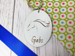 Personalised Engraved White Wooden Horse Keyring Key ring Any Name Gift School bag tag