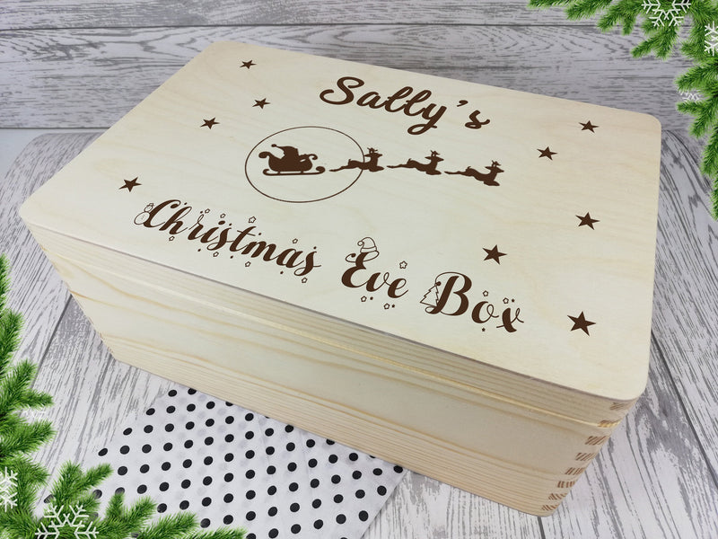 Personalised engraved Santa sleigh Christmas eve box keepsakes Memory box 30cm with handles Any Name