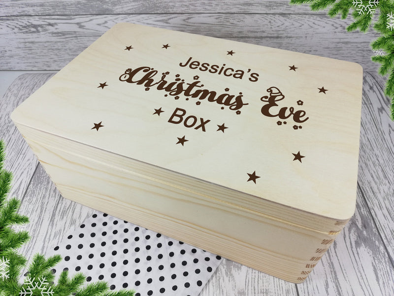 Personalised engraved Stars Christmas eve box keepsakes Memory box 30cm with handles Any Name