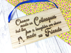 Personalised Engraved oak veneer 20cm hanging sign Colleague Friends Gift Any Message