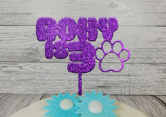 Personalised wooden Glitter Dog Cat Paw print Birthday cake topper Any name Any Age